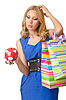 Girl spending all savings on shopping | Stock Foto