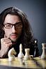 Szachista gra swoją grę | Stock Foto