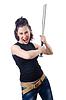 Frau mit kriminellen Schläger | Stock Foto
