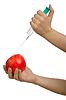 사과 주사기와 실험 | Stock Foto