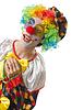 Funny clown on white   Stock Foto