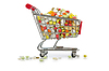Shopping cart with many colourful pills | Stock Foto