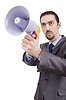 Photo 300 DPI: Man shouting and yelling with loudspeaker