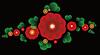 Векторный клипарт: Украшение красные цветки и листья