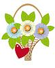 Векторный клипарт: букет цветов в корзине