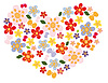 Vector clipart: heart of flowers and butterflies