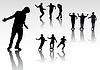 Vector clipart: silhouettes of dancing people