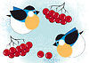 Vector clipart: Birds and berries of mountain ash