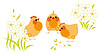 Vector clipart: Chickens and flowers