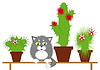 Vector clipart: Gray cat among cacti