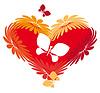 Векторный клипарт: сердца, цветы, бабочки