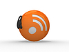 Photo 300 DPI: 3d rss symbol with headset, orange sphere over w