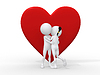 Beautiful 3d love couple embracing against big red | Stock Illustration