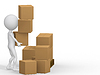 3d man carrying cardboard boxes   Stock Illustration