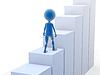 商业男子爬楼梯。 3D渲染 | 光栅插图