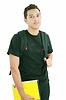 Attractive boy student standing with school backpack | Stock Foto
