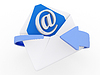 3d mail envelope and blue circular arrows, e-mail   Stock Illustration