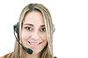 Friendly female helpline operator | Stock Foto