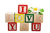 Photo 300 DPI: Phrase I LOVE YOU formed of wooden letter blocks