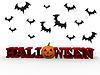 Halloween letters with pumpkin and bats   Stock Illustration