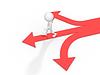 3d man with multiple arrow paths   Stock Illustration