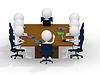 业务组会议 - 八个业务的人 | 光栅插图