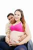 자신의 남편과 함께 행복 아름 다운 임신 한 여자 | Stock Foto