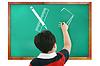 교실의 생각, 쓰기와에 계산 소년 | Stock Foto