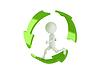 3d man running inside recycle symbol   Stock Illustration