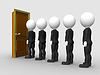 Photo 300 DPI: 3d man in line waiting for job interview