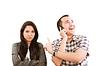 그의 아내 잊고 휴대 전화에 얘기를 행복한 사람 | Stock Foto