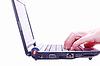 Hand on laptop keyboard. backgrou | Stock Foto