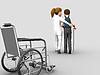 Nurse helps senior woman on crutches | Stock Illustration