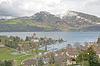 Фото 300 DPI: Шпиц город с замком на озере Тун (Jungfrau области,