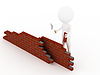 3d man in hardhat building brick wall   Stock Illustration