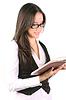 아름다운 여자 읽기 책   Stock Foto