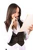 性感的女人控股企业文件夹 | 免版税照片