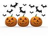 Halloween pumpkin & bats   Stock Illustration