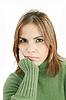 抑郁症的年轻漂亮的女人, | 免版税照片