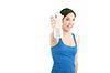 젊은 여자를 물에 웃 고, | Stock Foto