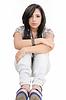郁闷的十几岁的女孩, | 免版税照片