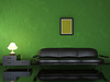 Interior with black sofa | Stock Illustration