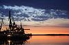 Jakutsk Flusshafen am Morgengrauen | Stock Foto