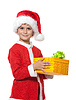 Boy holding christmas gift | Stock Foto
