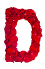 Foto 300 DPI: Letter D aus roten Blütenblättern stieg