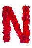 Foto 300 DPI: Letter N von roten Blütenblättern stieg