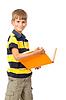 School boy is holding book. Back to school | Stock Foto
