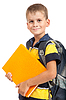 Boy holding books. Back to school | Stock Foto