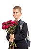 Schoolboy is holding flowers. Back to school | Stock Foto