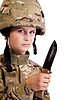 Young soldier with knife | Stock Foto